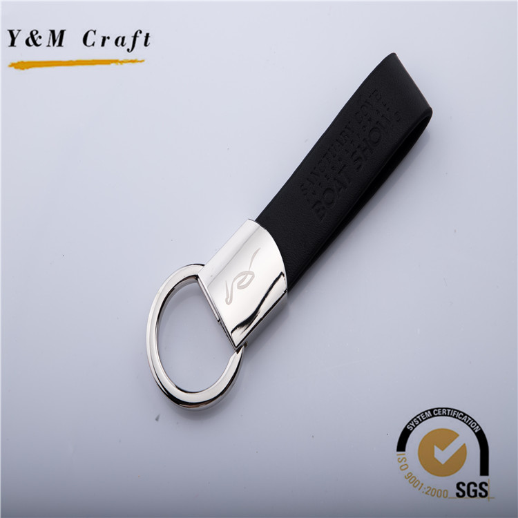 personalised leather keyring with shiny coating leather keychain wholesale