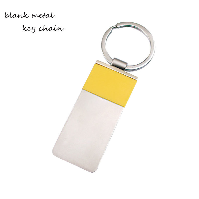 Rectangle Shape Zinc Alloy Blank Keyring For Laser Engraved Logo
