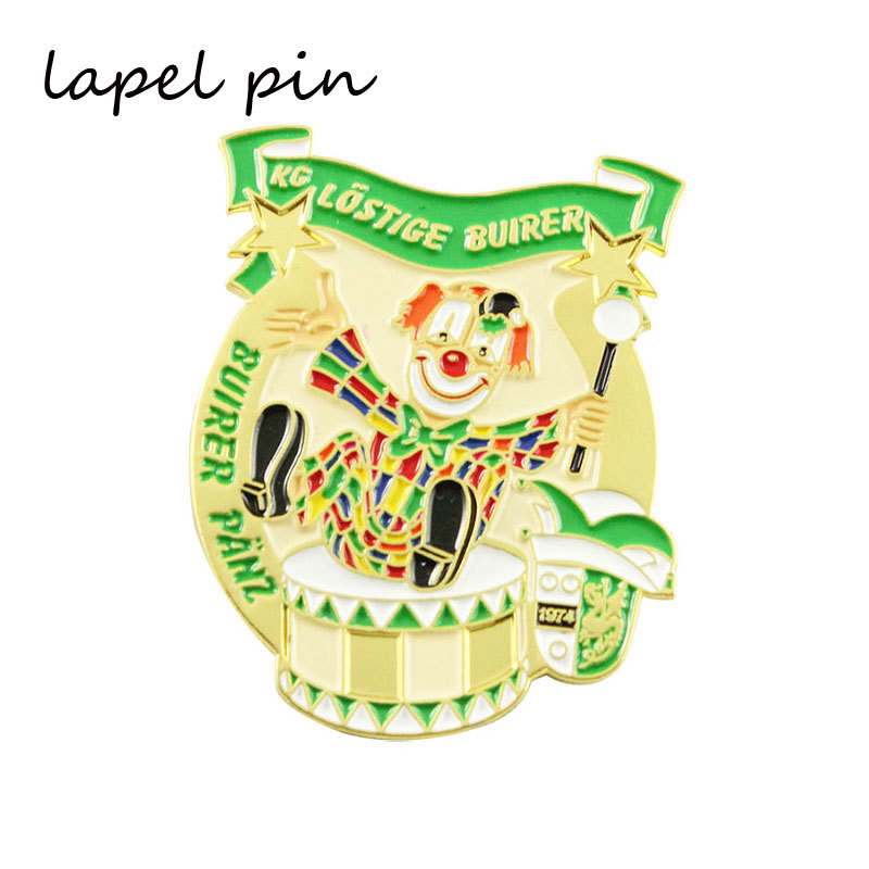 Iron Material Designer Enamel Lapel Pins In Gold