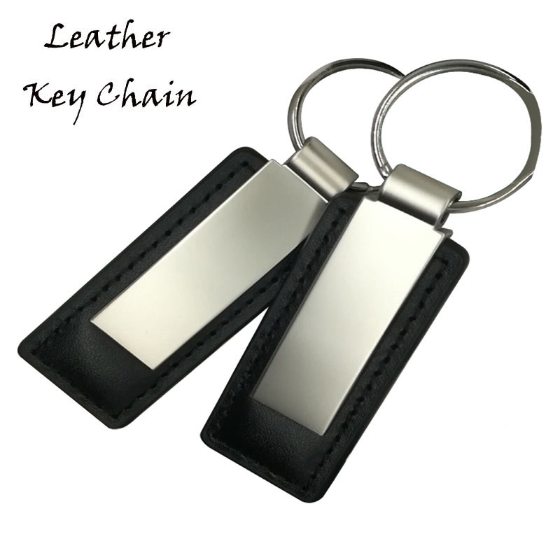 Blank Metal And Leather Key Tag For Custom Car Logo