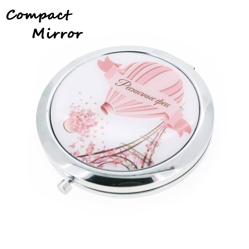 Round Shape Metal Epoxy Compact Mirror