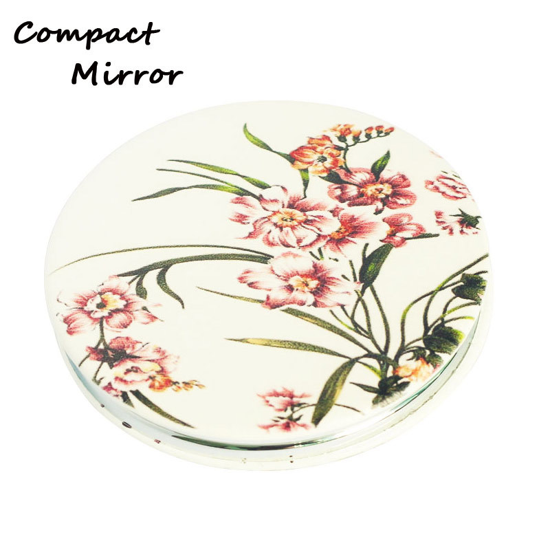 Beautiful Round Shape Leather Pocket Mirrors For Make-up
