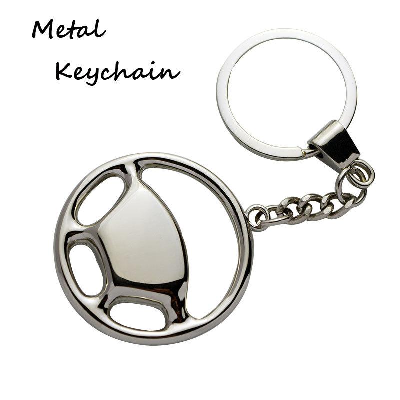 Shiny Silver Steering Wheel Metal Automobile Custom Keyring Suppliers