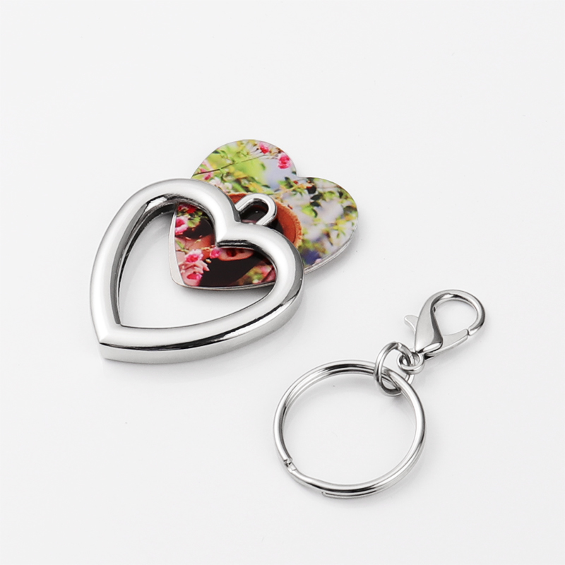 Zinc Alloy Love Heart Photo Frame Keyrings