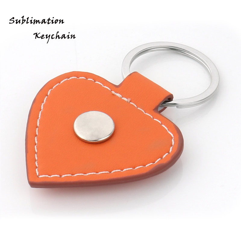 Orange Color Heart Leather Keychain For Sublimation