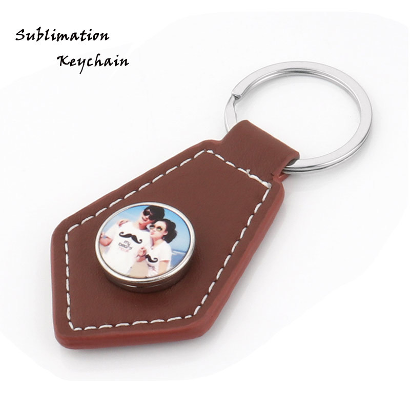 Brown Leather Thermal Printed Keyring Custom