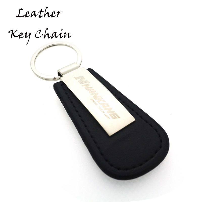 Black Top Layer Leather Key Tag With Laser Logo