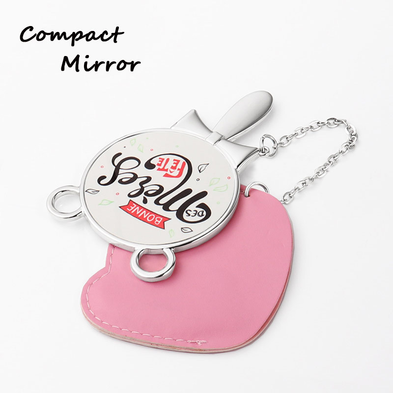 Small Zinc Alloy Pocket Mirror With Pouch