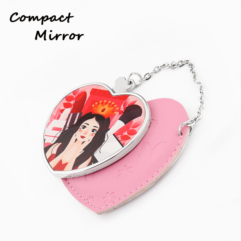 Heart Shape Leather And Metal Cosmetic Mirrors