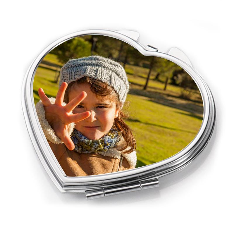Sublimation Blank Heart Metal Compact Mirror HZJ19007