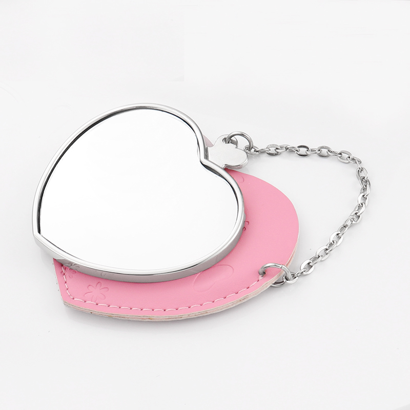 Heart Shape Sublimation Metal And Leather Mirrors HZJ19002