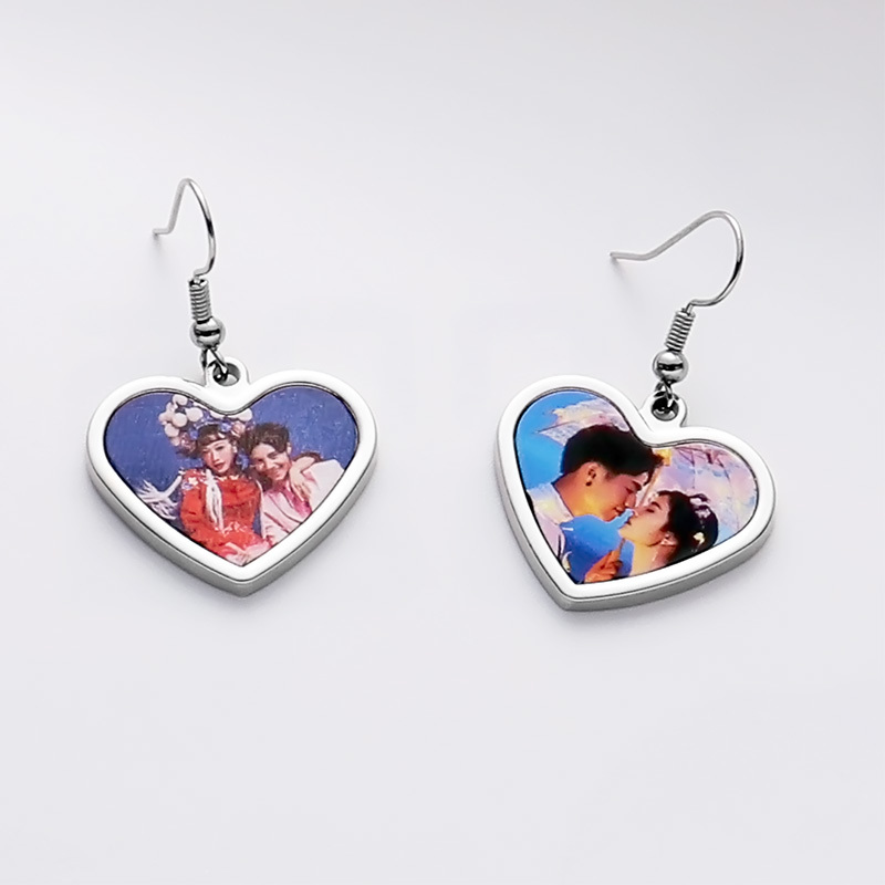 Heart Design Heat Transfer Earring Wholesale SX19010