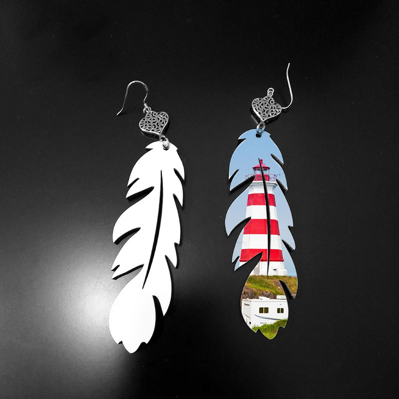 Feather Design Sublimation Bank Earring MDF19090